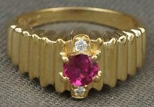 Solid 14K Yellow Gold, Red .50 ct Spinel & Diamond Scalloped Band, Estate Ring