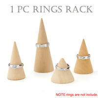 Natural Unpainted Wooden Cone Shape Jewelry Display Rack Holder Organizer cq