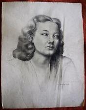 ANCIEN TRÈS GRAND DESSIN D'ACADÉMIE PORTRAIT de FEMME, NOMINATIF et DATÉ 1947