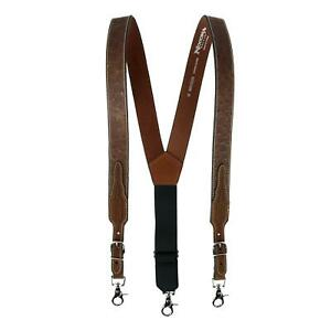 New Nocona Belt Co Men's Leather Ostrich Print Suspenders with Braided Detail