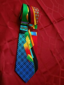 VTG Vitaliano Pancaldi Papillon Vibrant Multi Color Geometric Abstract Necktie