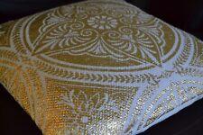 Dorado mandala Fundas Cojín Algodón Blanco 50cm 50.8cm Tejido a mano festivo