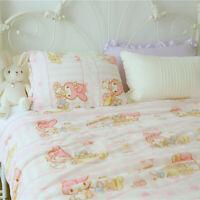 "79""x 59"" Kawaii Bowknot My Melody Flannel Blankets Quilt Bedheet Pink Plush Rug"