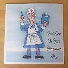 Handmade Personalised Funny Witty Nurse Birthday / Retirement Card