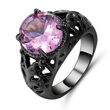 Women's Luxury Pink Sapphire Size7 Engagement Wedding  black Rhodium Plated Ring