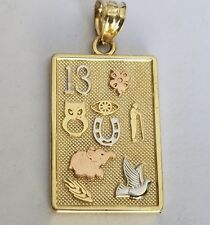"""Solid Real 14k Yellow Gold good luck Pendant Charm necklace 1.20"""" long"""