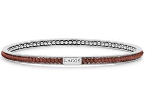 Lagos Icon Caviar Sterling Silver Garnet Bangle Bracelet New