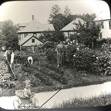 Antique Magic Lantern Glass Slide Photo Keystone Family Tending Garden Baby