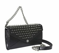 REBECCA MINKOFF Wallet On A Chain With Studs Black Leather Crossbody MSRP $225