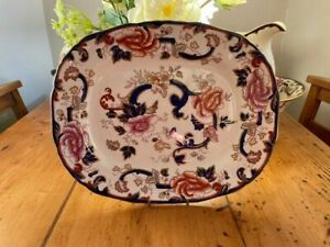 Mason's Ironstone Blue Mandalay Large Oval Serving Plate -Superb Condition