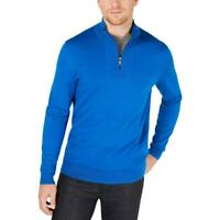 Alfani Mens Sweater Blue Size 2XL 1/2 Zip Pullover Knit Stand Collar $75 #021