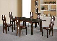 DINING TABLE AND 6 SOLID BEECH CHAIRS DARK WALNUT