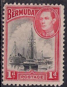 Bermuda 1938 - 52 KGV1 1d Ships Hamilton Harbour No Gum SG 110 ( H1300 )