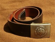 Vintage West German Army Leather Belt & Buckle Large Size Nice