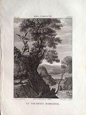 SACRIFICIO DI ABRAMO Incisione originale XIX secolo RELIGIOSE  ANNIBALE CARRACCI