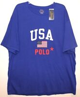 Polo Ralph Lauren Big Tall Mens 1XB Royal Blue USA Crewneck T-Shirt NWT Size 1XB