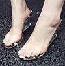 Women Leopard transparent open toe slipper slip on sandals wedge high heel shoes