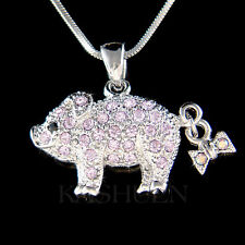 w Swarovski crystal ~Purple Pig Piggy Piglet Lover Charm Chain Necklace New Cute