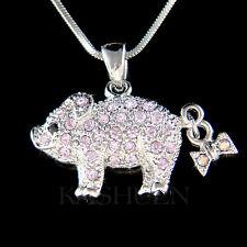w Swarovski crystal ~Purple Pig Piggy Piglet Lover Charm Chain Necklace New Cute