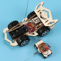 DIY Wooden Assembly RC Remote Control Car Vehicle Education Kit Children Toy LL