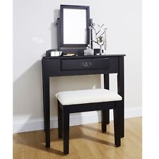 Dressing table set stool black adjustable mirror bedroom furniture vanity makeup