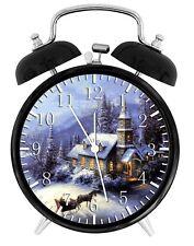 "Christmas Eve Alarm Desk Clock 3.75"" Home or Office Decor W347 Nice For Gift"