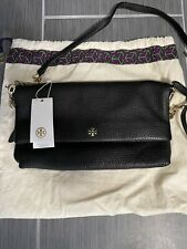 Tory Burch fold over ... Black Leather Crossbody Bag NWT 22159511