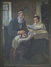 Israeli Art - Israel - A. Adler - Father Teaches Torah - Oil on Canvas - Unique