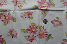 7633 Large piece vintage cotton feed sack, large pink daisies on white