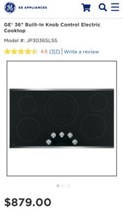 Brand New GE 2,700 Watt Electric 36 Inch Cooktop Stainless Steel JP3036SLSS