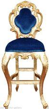 Bar Stool - Modern Bar Stool - Gold Frame Bar Stool - Blue Velvet Upholstery