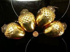 4 gold color Glass Baubles Kugel Acorn Shaped Christmas Ornaments vintage