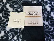 "Sache Legwear for Girls Black Tights 37-48"" 34-49lbs Hosiery NEW Size 4-6"