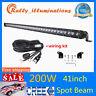 "41"" 200W CREE LED Light Bar Combo Driving Truck Lamp Single Row 4D Lens + Wiring"