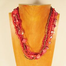 "18"" Cherry Red Mother of Pearl Shell and Handmade Seed Bead Statement Necklace"