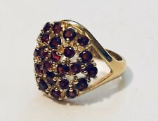 14K GOLD VERMEIL STERLING SILVER RUBY CLUSTER RING VICTORIA TOWNSEND SZ 5 1/2