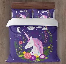 All Size Bed Ultra Soft Quilt Duvet Doona Cover Set Bedding Unicorn Purple