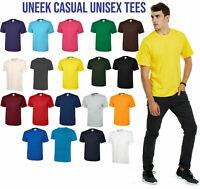 Classic T-Shirt Unisex Mens Plain Short Sleeve Blank Cotton Round Neck UNEEK