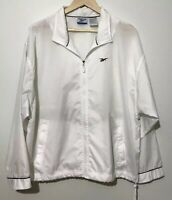 Reebok Women's Jacket Windbreaker Size Large Rain Zip Jacket White Blue