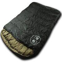 Wolftraders TwoWolves 20 Degree 2-Person Premium Ripstop Sleeping Bag, Black/Tan