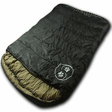Wolftraders Twowolves 20 Degree 2 Person Premium Ripstop Sleeping Bag Black Tan