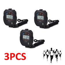 3X Handheld Digital LCD Stopwatch Sport Counter Chronograph Timer Odometer Black