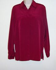 "Apparenza Long Sleeve Red Button Down Blouse Ladies S Bust 40"" Length 27 1/2"""