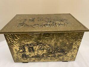 Vintage Brass Coal / Log Box - See Description (D3)