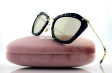 NEW Authentic MIU MIU Noir Family Blue Brown Cat-Eye Sunglasses SMU 10N USZ-5J2