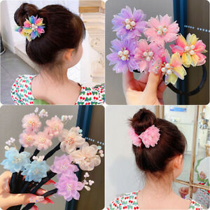 Girls Hair Bun Maker Colorful Headwear Bowknot Flower Headdress Hairpin Claws