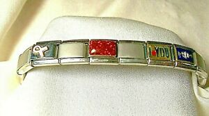 CHARM BRACELET PINK RIBBON~RED BEAD~I <> YOU~ MOM --RYRY FIRENZE STAINLESS STEEL