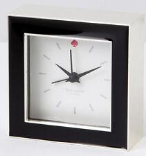 "Kate Spade Cross Pointe Square Desk Clock Black Enamel/SilverPlate 3.5"" New"