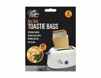 2 Reusable Pack Toaster Toastie Sandwich Toast Bags Pockets Toasty Toastabags