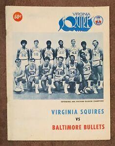 1971/72 VIRGINIA SQUIRES VS BULLETS JULIUS ERVING DR. J ROOKIE SEASON PROGRAM